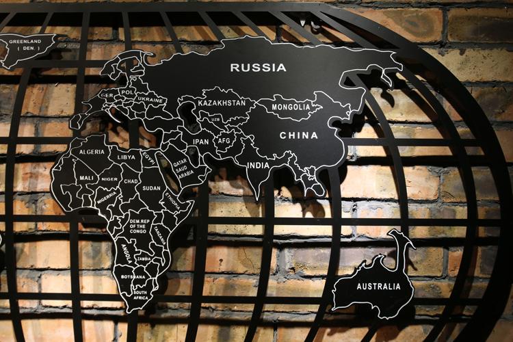 loft鐵件世界地圖牆上裝飾